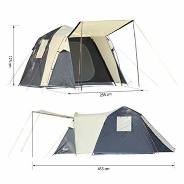 Outsunny Pop-Up Zelt für 3-4 Personen, Campingzelt mit Heringen, Kuppelzelt, Polyester, Dunkelgrau, 455 x 225 x 175 cm - 9
