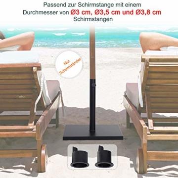 Outsunny Sonnenschirmständer, Schirmhalter, Regenschirm Base, für Ø30 mm, Ø35 mm, Ø38 mm, Metall, Schwarz, 45 x 45 x 39 cm - 8