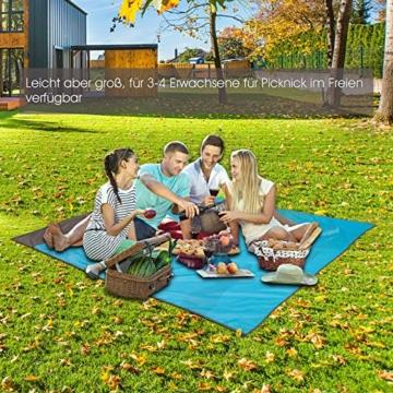 Picknickdecke Stranddecke Extra Large 210 x 200cm, wasserdichte sandfreie Campingdecke, Ultraleicht kompakt Tragbar aus 210T Polyester mit 4 Befestigung Ecken, Ideal für Camping Picknick Park Strand - 2