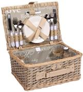 Picknickkorb für 4 Personen Weidenkorb mit praktischem Inhalt inklusive Teller Gläser - 1