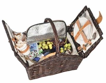 Picknickkorb Picknickkoffer Koffer Tasche Picknick gefüllt für 2 Personen mit Kühltasche (Kühlfach)- 337 - 1