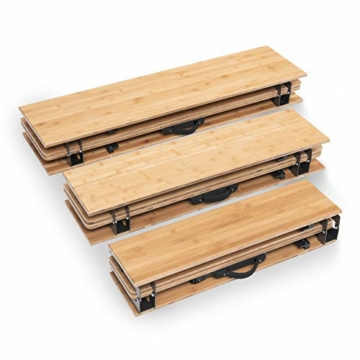 Qeedo Kimmy M, Campingtisch mit Bambus-Tischplatte, 90 x 90 cm, Höhenverstellbar - 10