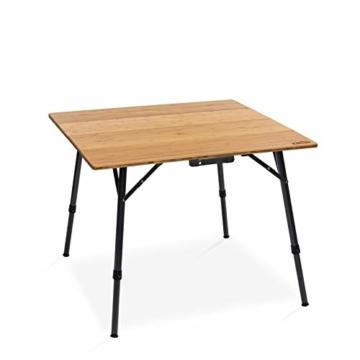 Qeedo Kimmy M, Campingtisch mit Bambus-Tischplatte, 90 x 90 cm, Höhenverstellbar - 1