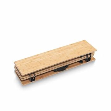 Qeedo Kimmy M, Campingtisch mit Bambus-Tischplatte, 90 x 90 cm, Höhenverstellbar - 4