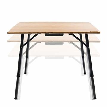 Qeedo Kimmy M, Campingtisch mit Bambus-Tischplatte, 90 x 90 cm, Höhenverstellbar - 5