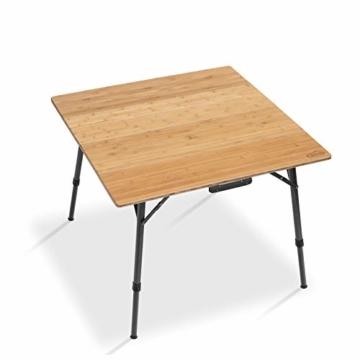 Qeedo Kimmy M, Campingtisch mit Bambus-Tischplatte, 90 x 90 cm, Höhenverstellbar - 8