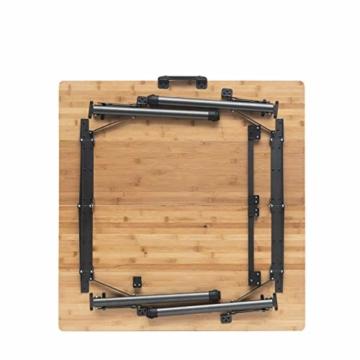 Qeedo Kimmy M, Campingtisch mit Bambus-Tischplatte, 90 x 90 cm, Höhenverstellbar - 9