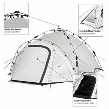 Qeedo Quick Oak 3 Personen Campingzelt, Sekundenzelt, Quick-Up-System, Dark Series (innen nachtschwarz) - 2