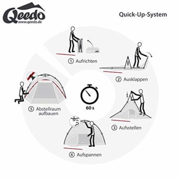 Qeedo Quick Oak 3 Personen Campingzelt, Sekundenzelt, Quick-Up-System, Dark Series (innen nachtschwarz) - 3
