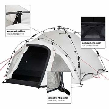 Qeedo Quick Oak 3 Personen Campingzelt, Sekundenzelt, Quick-Up-System, Dark Series (innen nachtschwarz) - 6