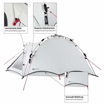 Qeedo Quick Oak 3 Personen Campingzelt, Sekundenzelt, Quick-Up-System, Dark Series (innen nachtschwarz) - 9