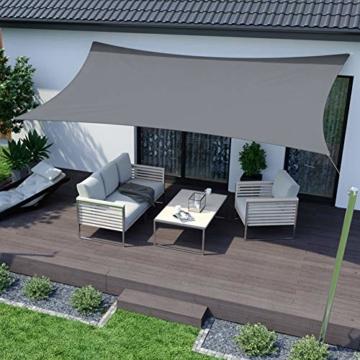 RATEL Sonnensegel 3x4 m graues Rechteckig, Wasserdicht Windschutz mit 95% UV Schutz Sonnenschutz für Draußen, Patio, Garten Terrasse Camping - 3