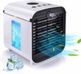 RCHL Tragbare Klimaanlage, Persönlicher Luftkühler, Luftbefeuchter, Luftreiniger, 4 IN 1 Verdunstungskühler mit 3 Geschwindigkeit, 7 LED-Leuchten, Mini-Kühl-Desktop-Lüfter für Campingzelt, Büro - 1