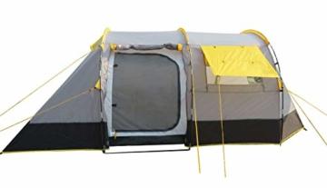 Ribelli Tunnelzelt für 4 Personen Großes Familienzelt mit 2 Eingängen und 3.000 mm Wassersäule Gruppenzelt grau Campingzelt - 2
