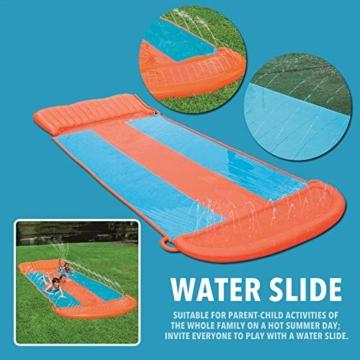 Riesige Kinder wasserrutsche mit Sprinkler für den Garten, Drei-Personen-Wasserrutschen matte Große und lange aufblasbare Sommerspray-Spielzeugrutsche und Rutschmatte für Jungen Mädchen im Freien - 2
