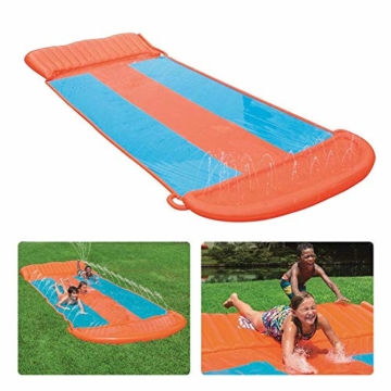 Riesige Kinder wasserrutsche mit Sprinkler für den Garten, Drei-Personen-Wasserrutschen matte Große und lange aufblasbare Sommerspray-Spielzeugrutsche und Rutschmatte für Jungen Mädchen im Freien - 4