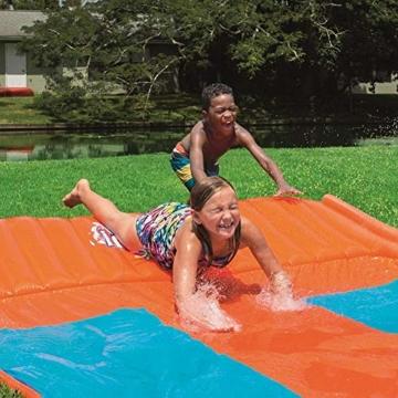 Riesige Kinder wasserrutsche mit Sprinkler für den Garten, Drei-Personen-Wasserrutschen matte Große und lange aufblasbare Sommerspray-Spielzeugrutsche und Rutschmatte für Jungen Mädchen im Freien - 5