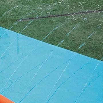 Riesige Kinder wasserrutsche mit Sprinkler für den Garten, Drei-Personen-Wasserrutschen matte Große und lange aufblasbare Sommerspray-Spielzeugrutsche und Rutschmatte für Jungen Mädchen im Freien - 6