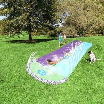 Rutschen und Rutschen Wasserpool Kinder Aufblasbare Kinderrutschen für Erwachsene Erwachsene-Kinder Wasserrutsche Gartenrennen Doppel Wasserrutsche Spray Sommerspielzeug für den Außenbereich - 8