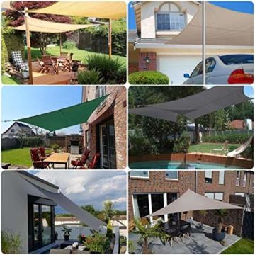 Sekey Sonnensegel Sonnenschutz Polyester Windschutz Wetterschutz Wasserabweisend Imprägniert 95% UV Schutz für Garten Outdoor Terrasse Camping Party mit Seilen, 2×3m Anthrazit - 5