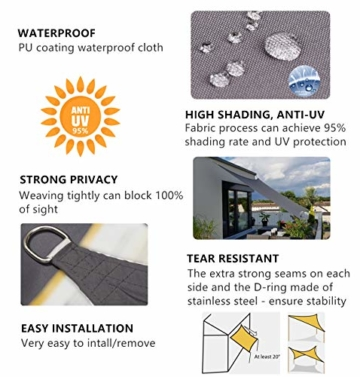 Sekey Sonnensegel Sonnenschutz Polyester Windschutz Wetterschutz Wasserabweisend Imprägniert 95% UV Schutz für Garten Outdoor Terrasse Camping Party mit Seilen, 2×3m Anthrazit - 6