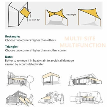 Sekey Sonnensegel Sonnenschutz Polyester Windschutz Wetterschutz Wasserabweisend Imprägniert 95% UV Schutz für Garten Outdoor Terrasse Camping Party mit Seilen, 2×3m Anthrazit - 7
