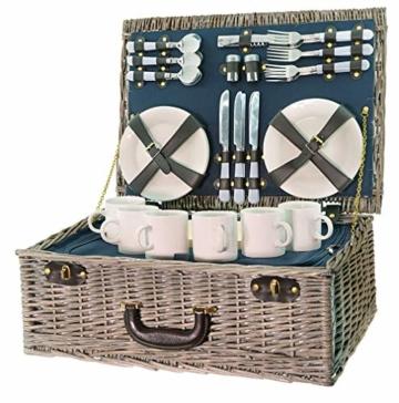 Smak | Picknickkorb aus Weidengeflecht | Camping geschirr Set 6 Personen | Picknickkorb Kinder 6 Personen | mit Kühltasche für Familie| Picknick-Set für Outdoor Camping | Geschirr weiss || Kaufbei - 1