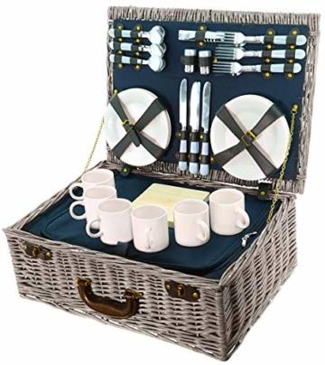 Smak | Picknickkorb aus Weidengeflecht | Camping geschirr Set 6 Personen | Picknickkorb Kinder 6 Personen | mit Kühltasche für Familie| Picknick-Set für Outdoor Camping | Geschirr weiss || Kaufbei - 5