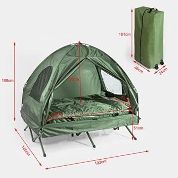 SoBuy OGS32-L-GR Feldbett 4in1-Zelt mit Campingliege Schlafsack Luftmatratze und Zubehör Campingzelt 2 Personen - 2