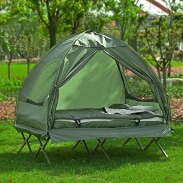 SoBuy OGS32-L-GR Feldbett 4in1-Zelt mit Campingliege Schlafsack Luftmatratze und Zubehör Campingzelt 2 Personen - 3