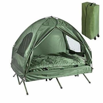 SoBuy OGS32-L-GR Feldbett 4in1-Zelt mit Campingliege Schlafsack Luftmatratze und Zubehör Campingzelt 2 Personen - 1