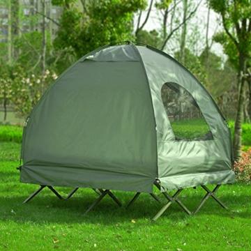 SoBuy OGS32-L-GR Feldbett 4in1-Zelt mit Campingliege Schlafsack Luftmatratze und Zubehör Campingzelt 2 Personen - 5