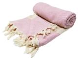 Stefano Ferrante ELMAS Hamamtuch Saunatuch Pestemal Fouta Strandtuch Badetuch Handtuch Baumwolle Backpacker 100x180 cm (Rosa) - 1