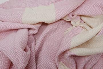 Stefano Ferrante ELMAS Hamamtuch Saunatuch Pestemal Fouta Strandtuch Badetuch Handtuch Baumwolle Backpacker 100x180 cm (Rosa) - 4