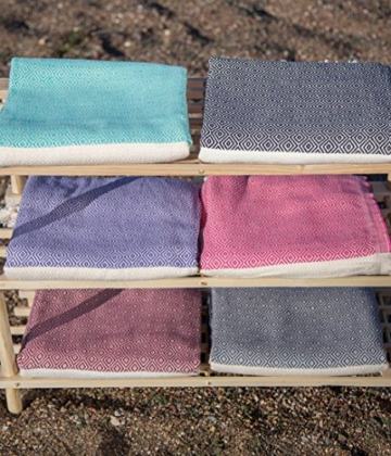 Stefano Ferrante ELMAS Hamamtuch Saunatuch Pestemal Fouta Strandtuch Badetuch Handtuch Baumwolle Backpacker 100x180 cm (Rosa) - 6