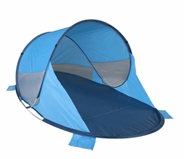 Strandmuschel Pop Up Strandzelt Blau Polyester blitzschneller Aufbau Wetter- und Sichtschutz Duhome BT-006, Farbe:Blau - 8