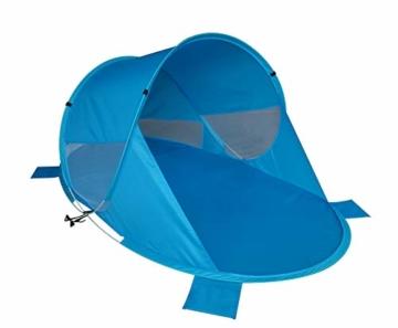 Strandmuschel Pop Up Strandzelt Blau Polyester blitzschneller Aufbau Wetter- und Sichtschutz Duhome BT-006, Farbe:Blau - 9