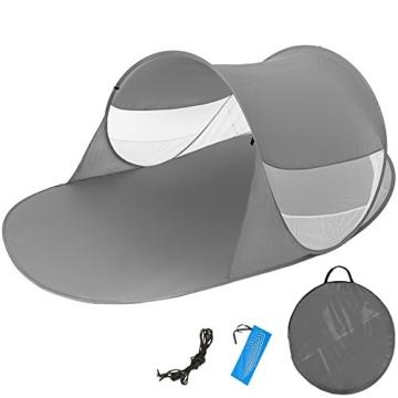 TecTake Pop Up Strandmuschel Wurfzelt 245x145x95 cm mit UV Schutz - Diverse Farben - (Anthrazit | Nr. 401676) - 1