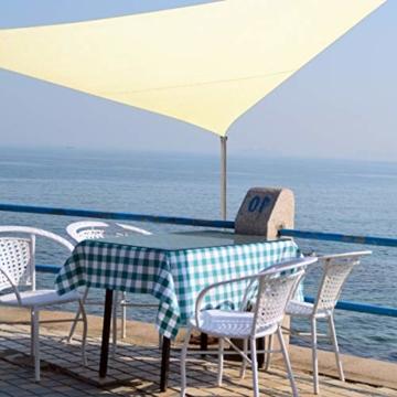 TedGem Sonnensegel, Sonnensegel Dreieckig Sonnensegel Wasserdicht, Sonnenschutz Balkon Hergestellt aus hochwertigem Polyester mit UV Schutz, 160 g / m2. für Garten/Balkon/Terrasse (3x3x3M) - 4