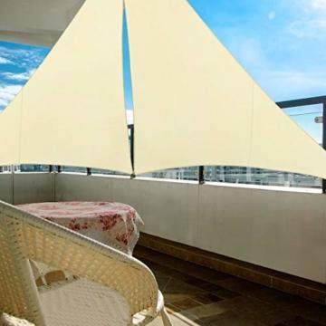 TedGem Sonnensegel, Sonnensegel Dreieckig Sonnensegel Wasserdicht, Sonnenschutz Balkon Hergestellt aus hochwertigem Polyester mit UV Schutz, 160 g / m2. für Garten/Balkon/Terrasse (3x3x3M) - 5
