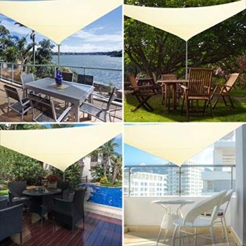 TedGem Sonnensegel, Sonnensegel Dreieckig Sonnensegel Wasserdicht, Sonnenschutz Balkon Hergestellt aus hochwertigem Polyester mit UV Schutz, 160 g / m2. für Garten/Balkon/Terrasse (3x3x3M) - 7