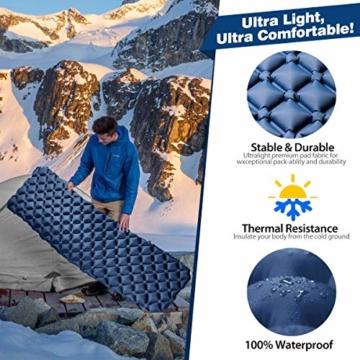 tomight Isomatte Camping, Ultraleichte Isomatte mit Abnehmbares Kissen, 2.16 M Luftmatratze Camping Lang Abschnitt Wasserdicht für Wandern, Backpacking, Camping, Strand - 3
