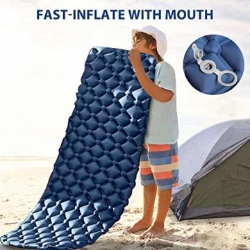 tomight Isomatte Camping, Ultraleichte Isomatte mit Abnehmbares Kissen, 2.16 M Luftmatratze Camping Lang Abschnitt Wasserdicht für Wandern, Backpacking, Camping, Strand - 4