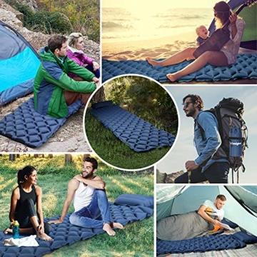 tomight Isomatte Camping, Ultraleichte Isomatte mit Abnehmbares Kissen, 2.16 M Luftmatratze Camping Lang Abschnitt Wasserdicht für Wandern, Backpacking, Camping, Strand - 8