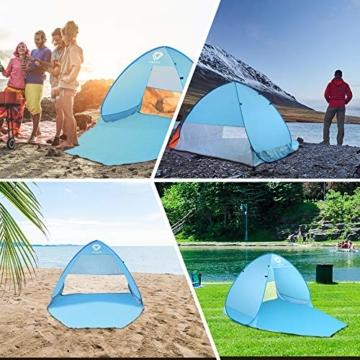 Vigorun Strandmuschel, Tragbares Pop up Strandzelt UV Schutz 50+ Automatisches Öffnungs Zelt für Strand, Garten, Camping, Angeln - 2