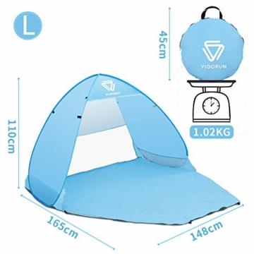 Vigorun Strandmuschel, Tragbares Pop up Strandzelt UV Schutz 50+ Automatisches Öffnungs Zelt für Strand, Garten, Camping, Angeln - 3