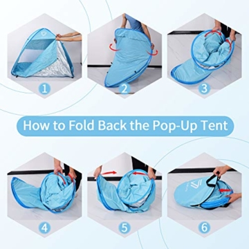 Vigorun Strandmuschel, Tragbares Pop up Strandzelt UV Schutz 50+ Automatisches Öffnungs Zelt für Strand, Garten, Camping, Angeln - 5