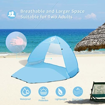 Vigorun Strandmuschel, Tragbares Pop up Strandzelt UV Schutz 50+ Automatisches Öffnungs Zelt für Strand, Garten, Camping, Angeln - 6