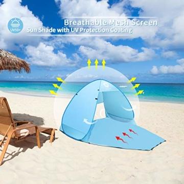 Vigorun Strandmuschel, Tragbares Pop up Strandzelt UV Schutz 50+ Automatisches Öffnungs Zelt für Strand, Garten, Camping, Angeln - 7