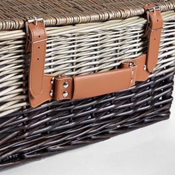 VonShef Korbgeflechter Picknickkorb für 2 Personen- Enthält Besteck (Gabel, Messer & Löffel), Teller, Weingläser, wasserdichte Decke, Servietten - Ideal für Strandausflüge & Camping - 3